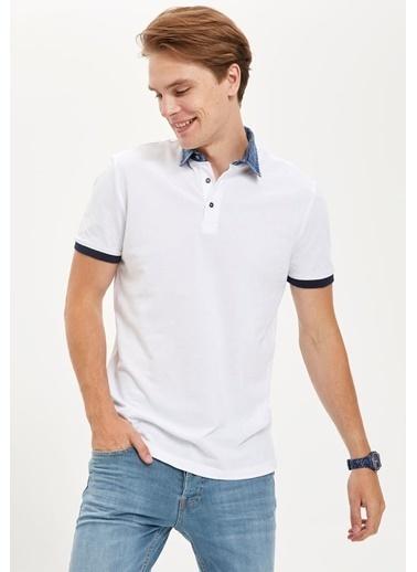 DeFacto Jean Yaka Slim Fit Polo Tişört Beyaz
